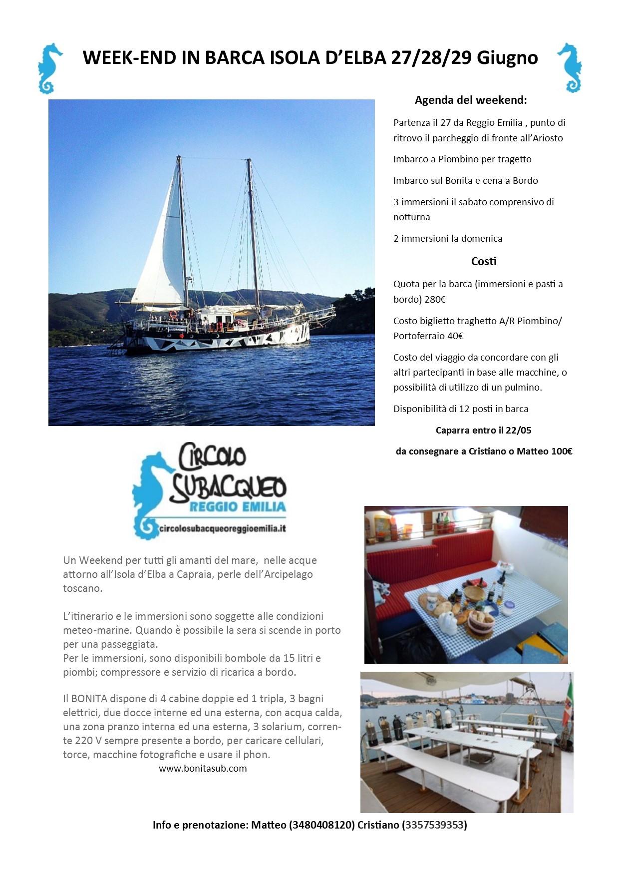 weekend in barca isola d elba 2014 circolo subacqueo